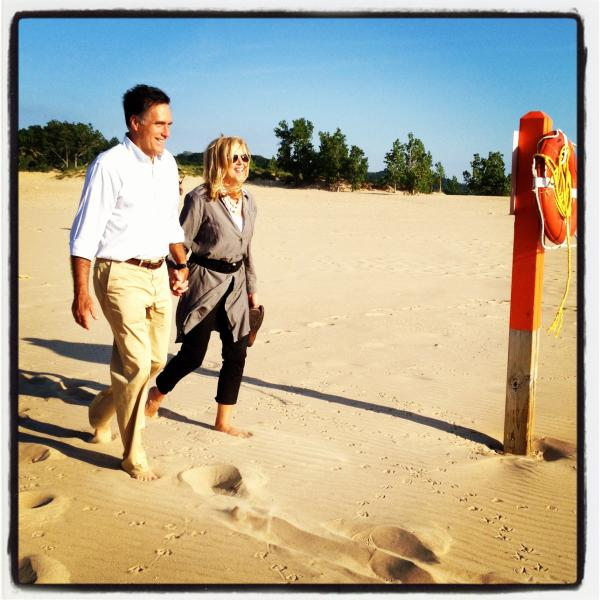 "Mitt and Ann stroll down to Lake Michigan. <a href=""http://web.stagram.com/p/217515775925032702_14310900"">@ashleyrparker</a>"