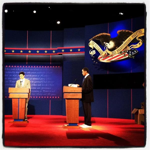 "Obama and Romney stand ins during debate prep in Denver, CO <a href=""http://web.stagram.com/p/293391295882204043_23864099"">@sullyfoto</a>"