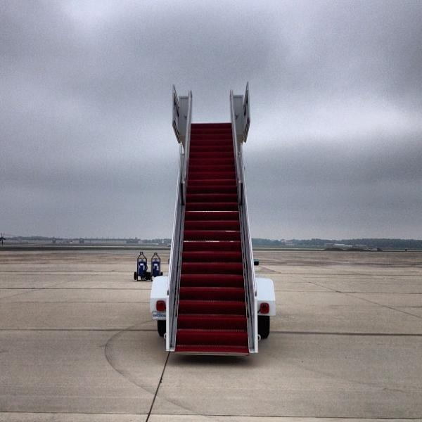 "Waiting for President Obama at Andrews Air Force Base - stairs to nowhere. <a href=""http://web.stagram.com/p/182437929515070599_21089972"">@evanvucci</a>"