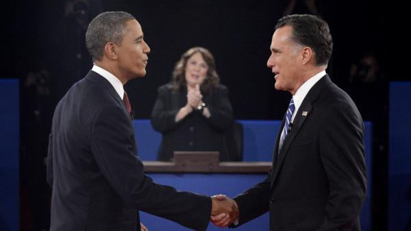 President Obama and Republican nominee Mitt Romney shake hands before their debate Tuesday in Hempstead, N.Y.