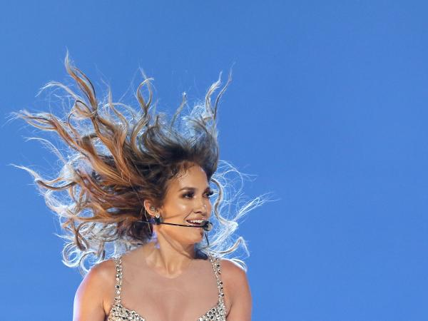 Jennifer Lopez performs in Paris on Tuesday night.