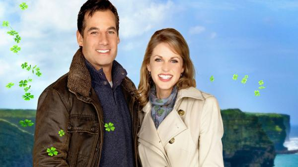 Adrian Pasdar and Amy Huberman in <em>Chasing Leprechauns</em>.