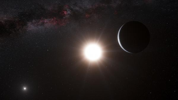 An artist's impression shows a planet, right, orbiting the star Alpha Centauri B, center, a member of the triple star system that is the closest to Earth.