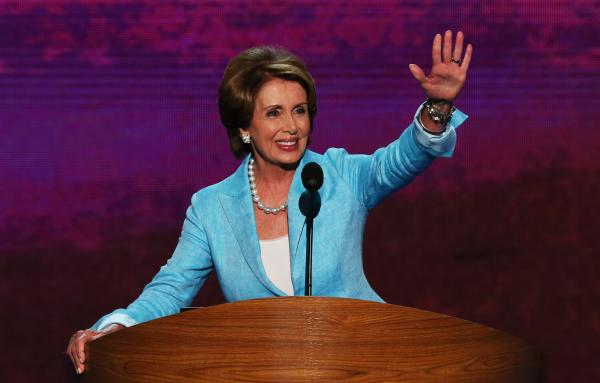 Nancy Pelosi takes the stage during Day Two of the Democratic National Convention in Charlotte, N.C., in September.