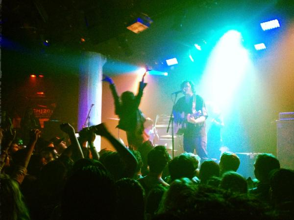 Stage diving at Front Bottoms' performance during CMJ 2012 at Santos Party House.