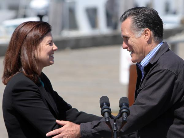 Sen. Kelly Ayotte, R-N.H., campaigns with Mitt Romney in Portsmouth, N.H., on April 30.