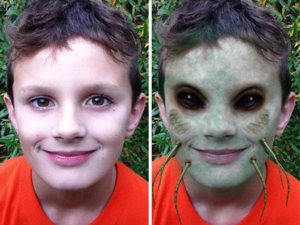 <strong>Before and after:</strong> The iMut8r app brings out the inner zombie in children of all ages.