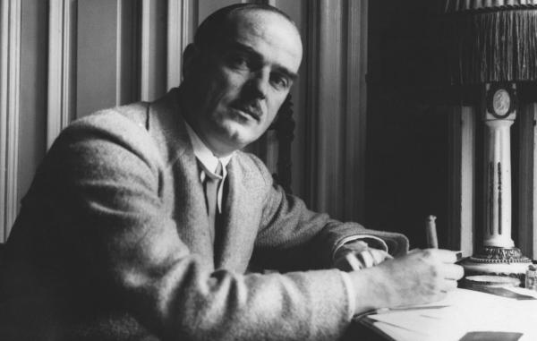 Thornton Wilder works in a Berlin hotel in 1931. His titles include the plays <em>Our Town</em> (1938) and <em>The Skin of Our Teeth</em> (1942), as well as the novels <em>Heaven's My Destination</em> (1935) and <em>The Bridge of San Luis Rey</em> (1927).