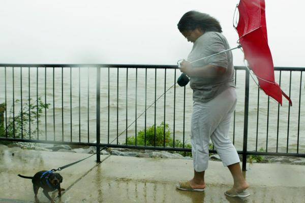Tiffaney Battle (perfect last name) and her dog, Zach, versus Hurricane Isabel, Alexandria, Va., 2003.