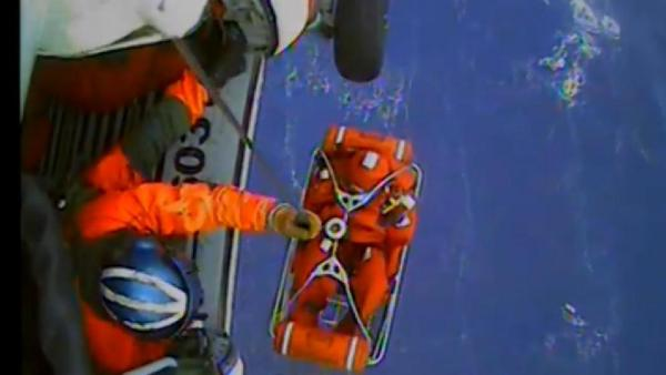 A screen grab from video of the Coast Guard's rescue operation that saved 14 sailors from the HMS Bounty on Monday.