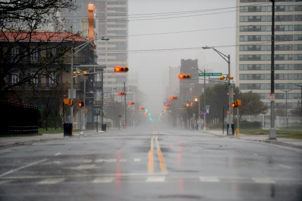 Empty streets in Atlantic City, N.J., on Monday.