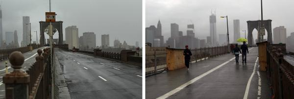 A composite of two photos of the Brooklyn Bridge, which remains closed to traffic on Tuesday (left) but open to pedestrians (right).
