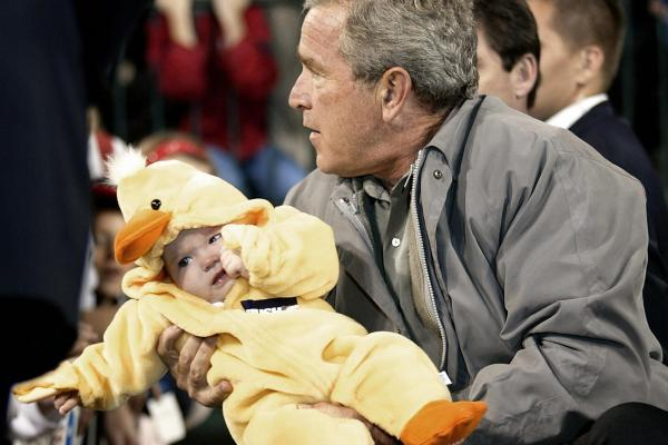 Here's George W. Bush not knowing what to do with a baby duck. (Bush held 5-month-old Jessica DeNoma while campaigning in 2004.)