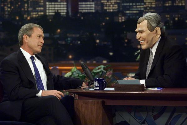 """Waaaiiit a minuuuute. Hey now, Jay. That's not funny!"" (George Bush makes an appearance on <em>The Tonight Show</em> with Jay Leno while campaigning in 2000.)"