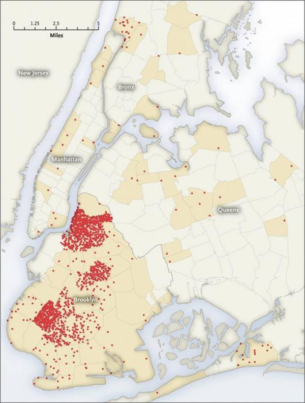 Each dot represents one case of mumps in a given zip code from June 28, 2009, to June 27, 2010.