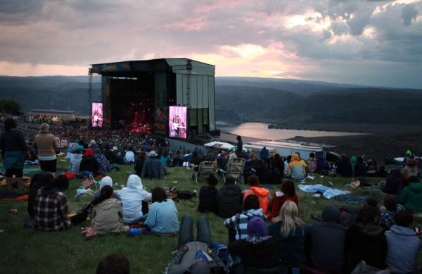 Wilco performs the last set at Sasquatch as the sun sets over the Columbia River Gorge on Monday night.