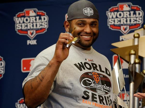 "San Francisco Giants third baseman Pablo Sandoval was the World Series' most valuable player. <a href=""http://www.npr.org/blogs/thetwo-way/2012/10/25/163611545/boom-boom-boom-kung-fu-panda-joins-elite-club-with-three-homers"">He hit three home runs in Game 1</a>."
