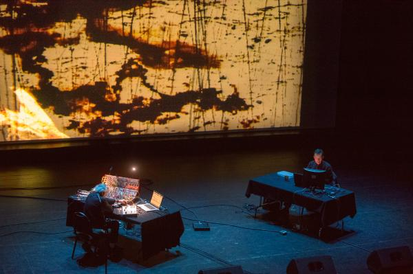 One of the highlights of this year's Moogfest was a performance by Morton Subotnick (left), a pioneer in electronic music. He performed his entire, now-legendary album <em>Silver Apples of the Moon.</em>