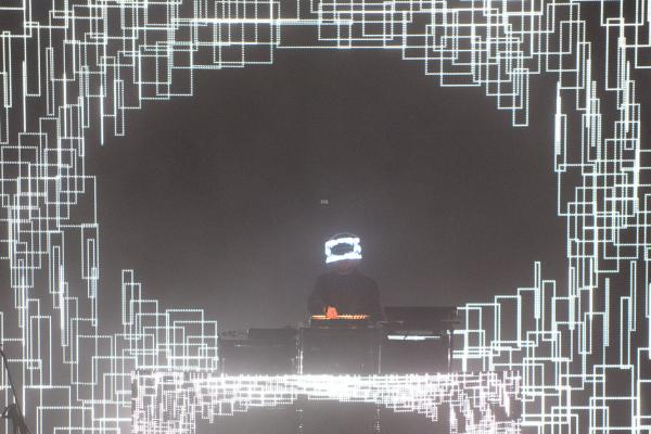 Many of the performances at Moogfest married sound with stunning visuals, including this geometric light show from Squarepusher's set at the Thomas Wolfe Auditorium.