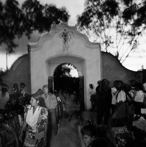 Gates to the cemetery, death walks in, Tlacochahuayo, Oaxaca