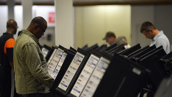 People cast their ballots at an early-voting center in Columbus, Ohio, on Oct. 15.
