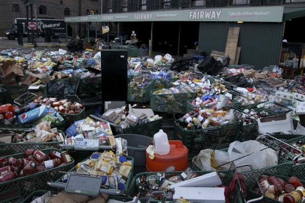 Food damaged by storm flooding awaits disposal at the Fairway supermarket in Brooklyn.