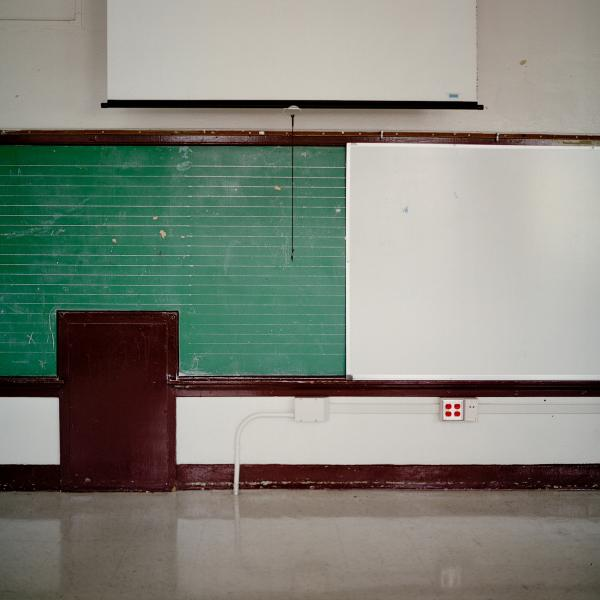 An empty classroom at James W. Fannin Elementary School.