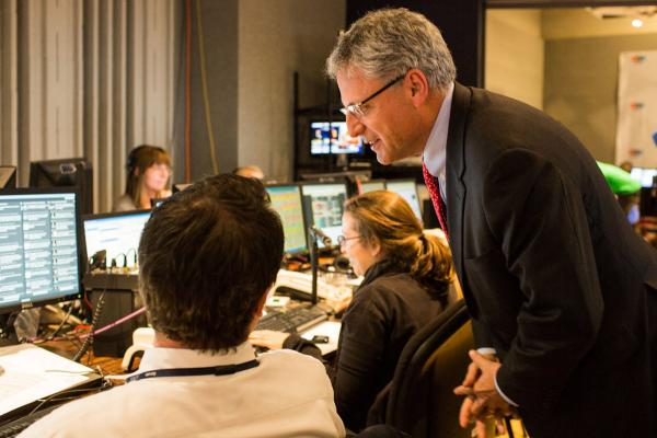 NPR President and CEO Gary E. Knell talks with NPR Election Editor Neal Carruth in Studio 4A.