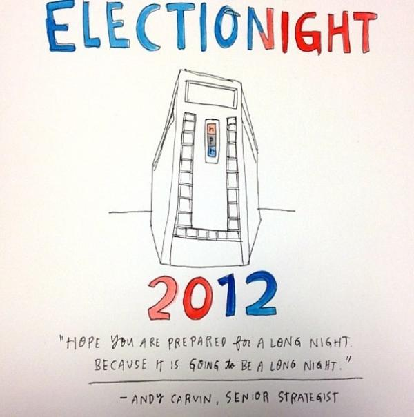 "Professional illustrator Wendy MacNaughton was stationed at NPR headquarters on election night, live sketching our reporting. See more of her work from the evening here: <a href=""http://bit.ly/SovjOZ"">http://bit.ly/SovjOZ </a>"