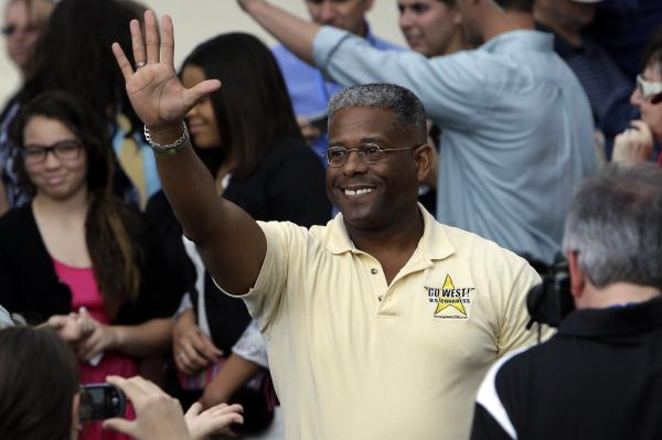 <strong>OUT:</strong> Florida Republican Rep. Allen West, another Tea Party freshman, waves before a campaign rally for Mitt Romney last month in Port St. Lucie, Fla.