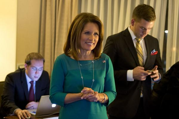 <strong>IN:</strong> Minnesota Republican Rep. Michele Bachmann watches election results at a hotel in Bloomington, Minn., on Tuesday.