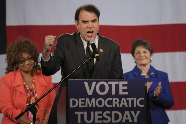 <strong>IN:</strong> Florida Democratic Rep. Alan Grayson pumps up the crowd at a state Democratic Party rally in Orlando in 2010.