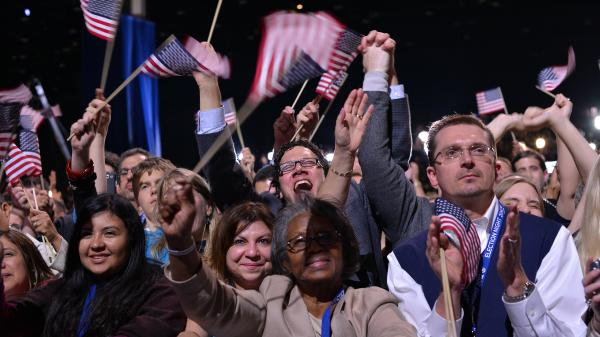 Some of the faces of those who supported the president, at his victory rally Tuesday in Chicago.