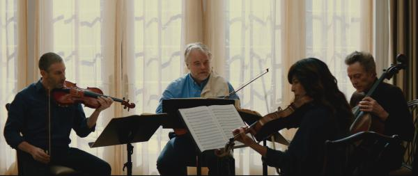 Mark Ivanir, Philip Seymour Hoffman, Christopher Walken and Catherine Keener as the Fugue String Quartet.