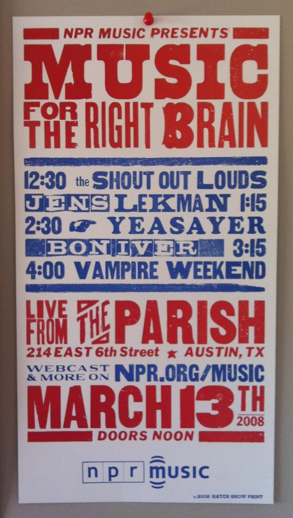 Promo poster for NPR Music's first Parish showcase at SXSW in 2008.