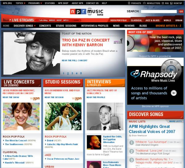 The design of the NPR Music site at its launch in 2008.