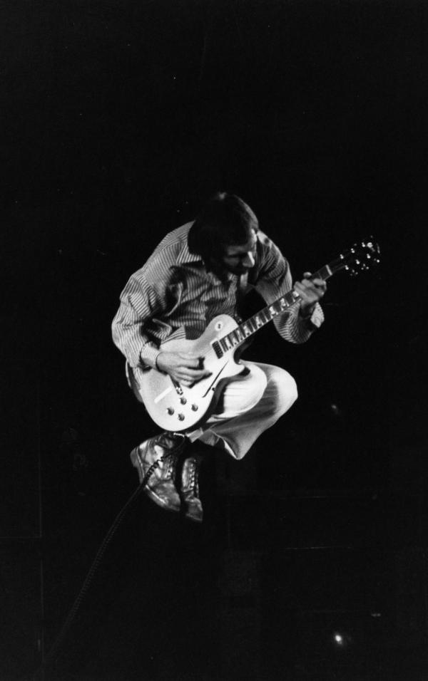 <strong>In Flight:</strong> Pete Townshend of The Who during a concert in 1975.