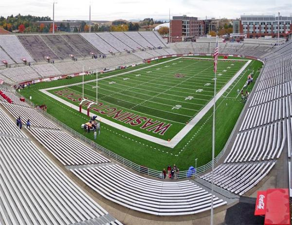 A view of Washington State University's Martin Stadium in Pullman, Wash. Photo by Bobak Ha'Eri via Wikimedia