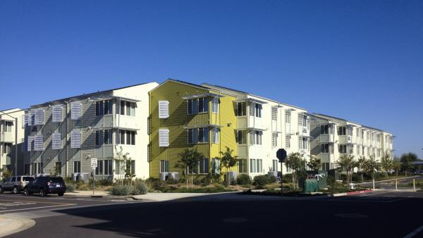 New energy-efficient dormitories at the University of California, Davis.