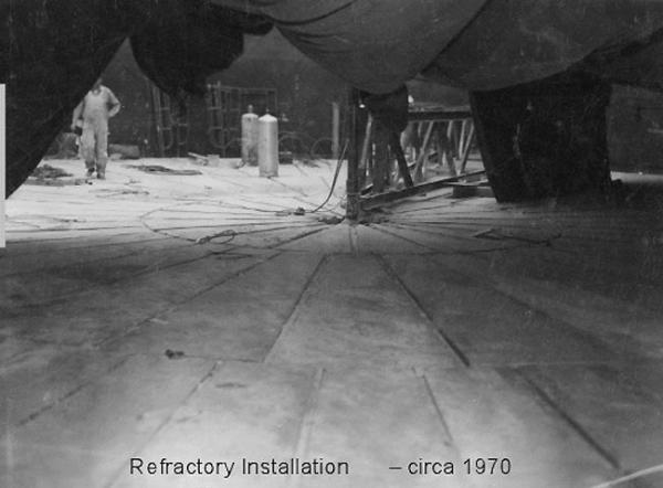 Refractory installation of tank AY-102 at Hanford circa 1970. Photo courtesy U.S. Department of Energy