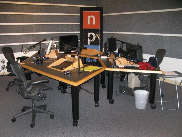 Studio B at NPR West, where most mornings, Host Renee Montagne broadcasts the west coast voice of 'Morning Edition.' See the red phone? That's a direct line to co-host Steve Inskeep at NPR HQ in Washington, D.C.
