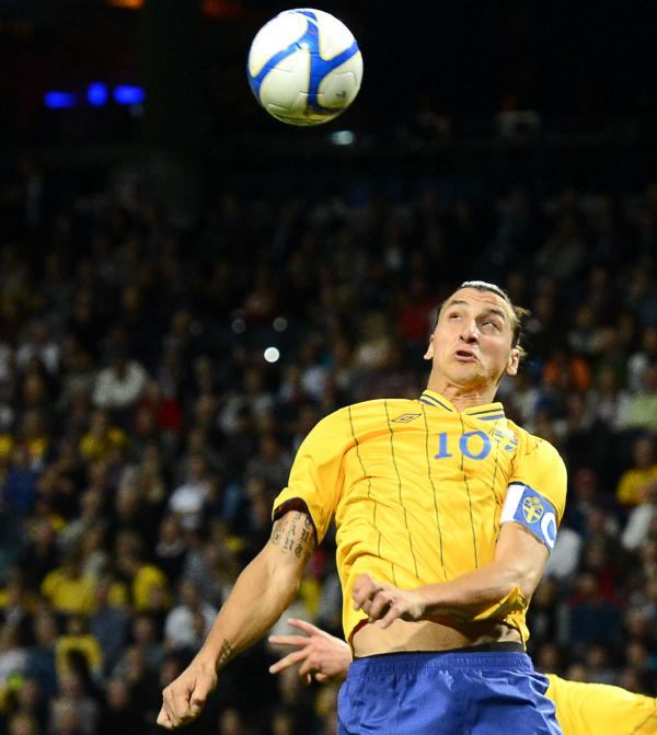 "Sweden's striker and team captain Zlatan Ibrahimovic during Wednesday's ""friendly"" against England in Stockholm."