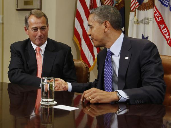 Getting started: President Obama and House Speaker John Boehner, R-Ohio, at the start of today's meeting.
