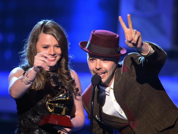 Jesse & Joy accept one of their four awards during the Latin Grammy Awards in Las Vegas on Thursday.
