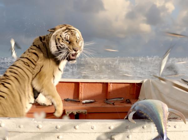 Richard Parker reacts to a school of flying fish.