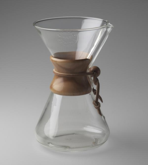 Peter Schlumbohm's 1941 <em>Chemex Coffee Maker</em>, is made of everyday materials: Pyrex glass, wood and leather.