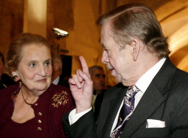 Former U.S. Secretary of State Madeleine Albright, left, talks to Czech former President Vaclav Havel, right, at a conference in 2007. Albright remembers her friend as an artist, a jazz lover and as an inspiration to the Czech people.