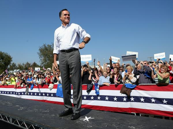 Republican presidential candidate Mitt Romney greets supporters during a campaign rally on Oct. 5 in Abingdon, Va.
