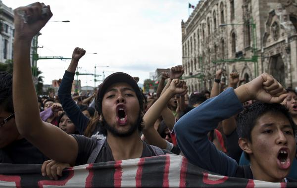 Students take part in a demonstration to commemorate the massacre of Tlatelolco, in Mexico City, on Oct. 2, 2012.