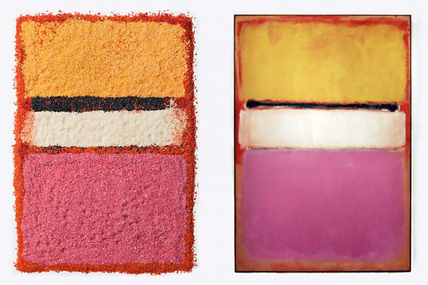 Chef/stylist Caitlin Levin and photographer Henry Hargreaves do an interpretation of Mark Rothko's paintings using colored rice. Left, Levin's design, right, the original painting titled <em>White Center (Yellow, Pink and Lavender on Rose)</em> by Mark Rothko as seen at Sotheby's auction house in New York.